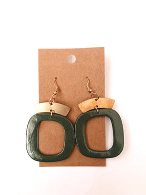 Abstract Square Clay Earrings in Evergreen