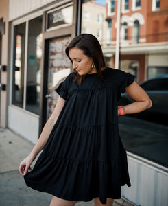 Black Tiered Ruffle Dress 2526