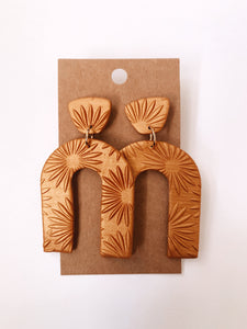 Arch Clay Earrings in Golden Flower