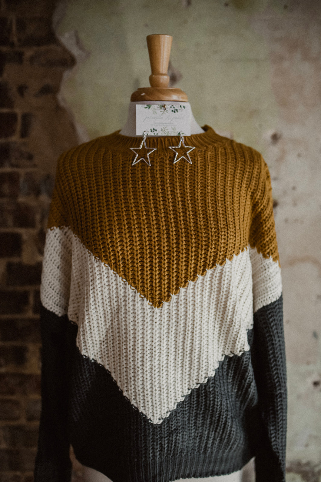 Mustard/Charcoal Chevron Color Block Sweater 2311