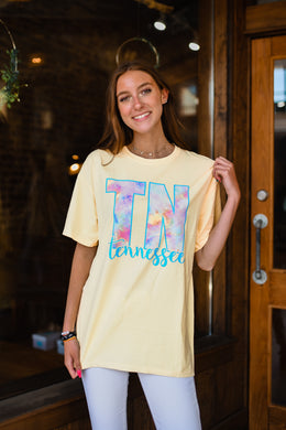 Yellow Tennessee Tie Dye Tee 2651
