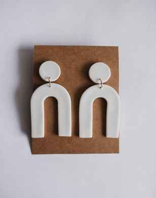 Arch Clay Earrings in Ivory