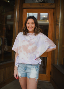 Lilac Coral Tie Dye Oversized Tee 3013
