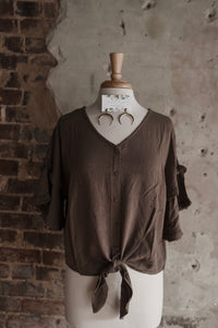 Mocha Linen Button Up Knot Top 2187