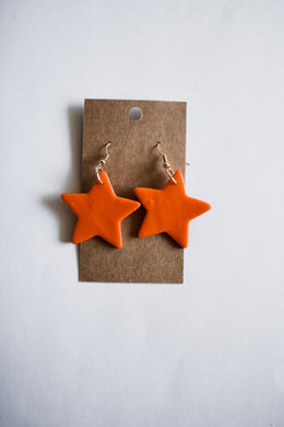 Orange Star Clay Earrings