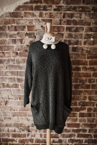 Ash Grey Popcorn Sweater with Pockets 2398