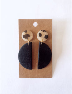 Black Half Moon Clay Earrings