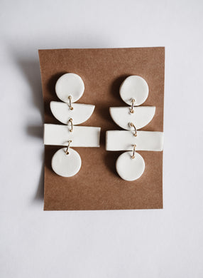 The Willa Clay Earring in White