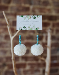 Ivory Pom Pom Earrings with Turquoise Beading