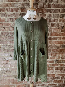 Olive Thermal Top with Pockets 2332