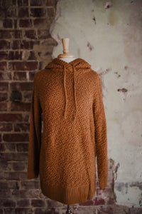 Coffee Hooded Popcorn Texture Pullover 2289