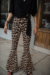 Stay Wild Leopard Denim Bell Bottoms 2716
