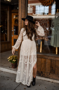 Cream Lace Maxi Dress 2867