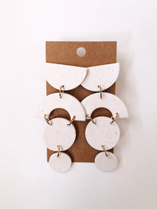 Abstract Stacked Circles Clay Earrings in White Specks