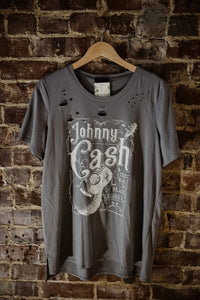 Charcoal Johnny Cash Distressed Tee 2319