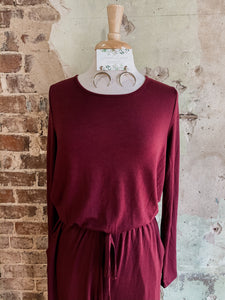Burgundy Long Sleeve Jumpsuit 2383