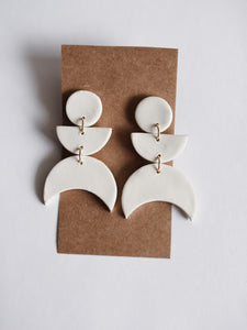 Crescent Clay Earring in White
