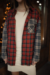 Brick Color Block Plaid Flannel Top 2888