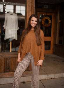 Golden Brown Rolled Sleeve Sweater 2835