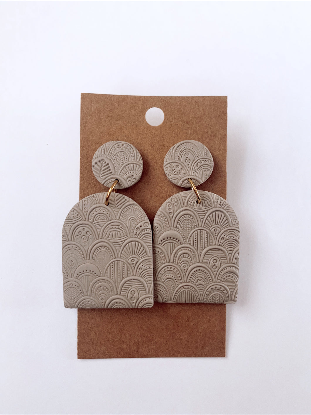 Tan Moroccan Textured Clay Earrings