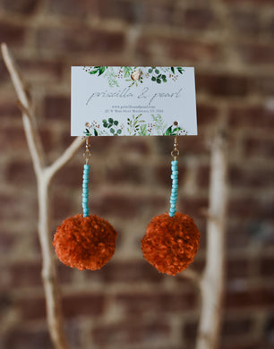 Rust Pom Pom Earrings with Turquoise Beading