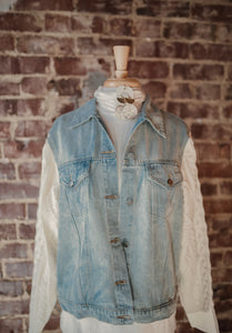 Sweater Sleeve Denim Jacket 2426