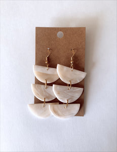 Translucent +Ivory Dangle Clay Earrings