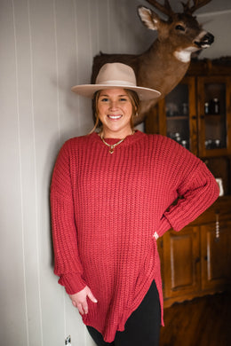 Deep Rose Round Neck Sweater 2977