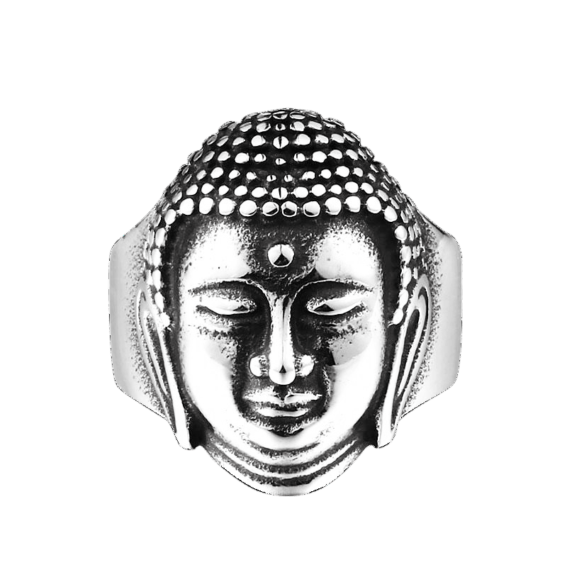 Buddha Head Ring 7 / Silver Color