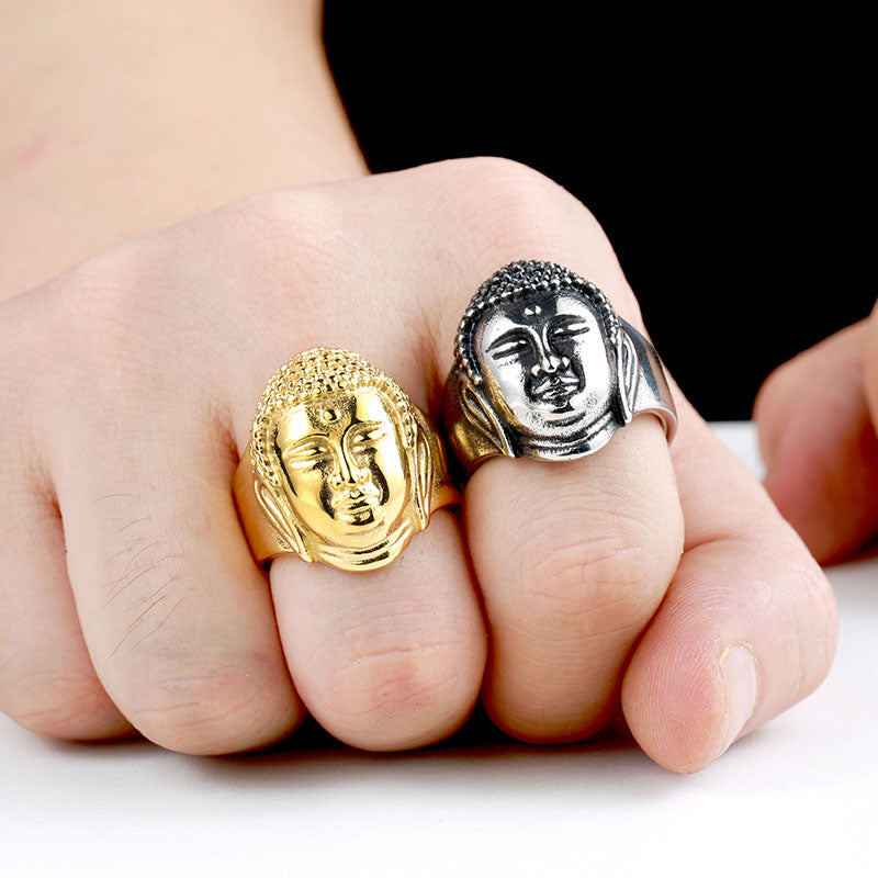 Buddha Head Ring 7 / Gold Colour