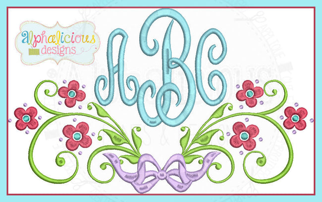 Cherry Blossom Laurel Monogram Frame with bow - Alphalicious Designs