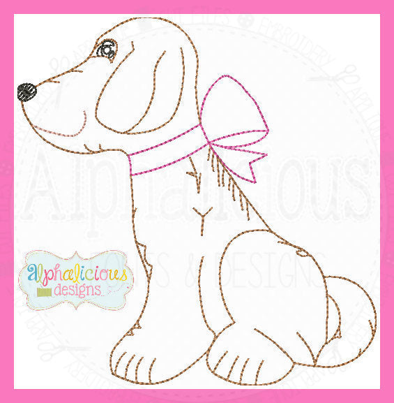Vintage Pup with a Bow-MINI - Alphalicious Designs