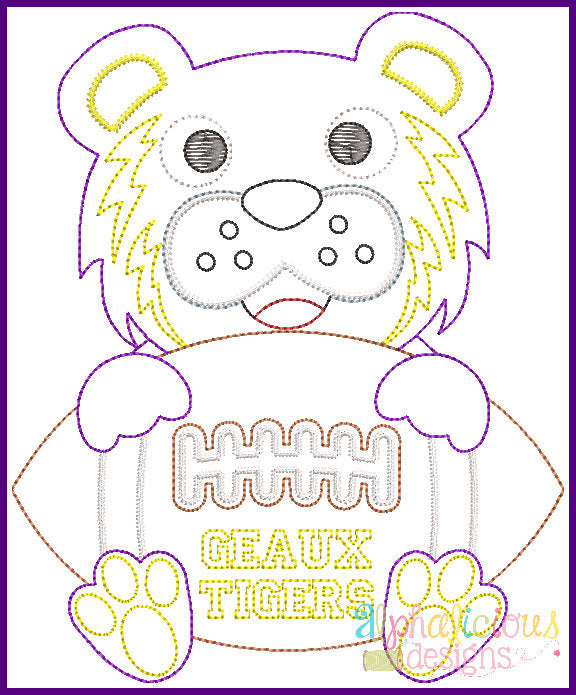 Tiger Football Mascot Vintage Embroidery Design - Alphalicious Designs