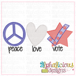 Peace Love & Vote-Sketch - Alphalicious Designs