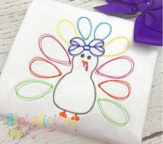 Scribble Turkey with Bow-Vintage