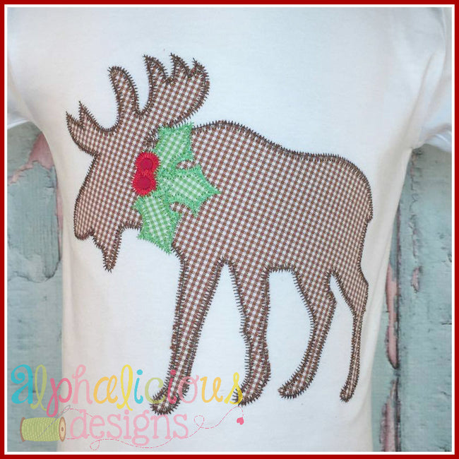 Holly Jolly Moose-Zig Zag- Applique Design - Alphalicious Designs