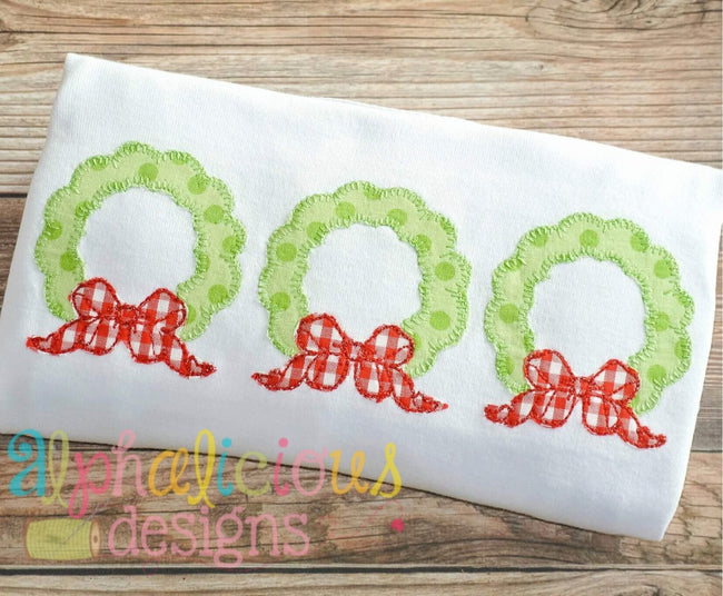 Holiday Cheer Wreath Three In A Row- Applique-Blanket - Alphalicious Designs