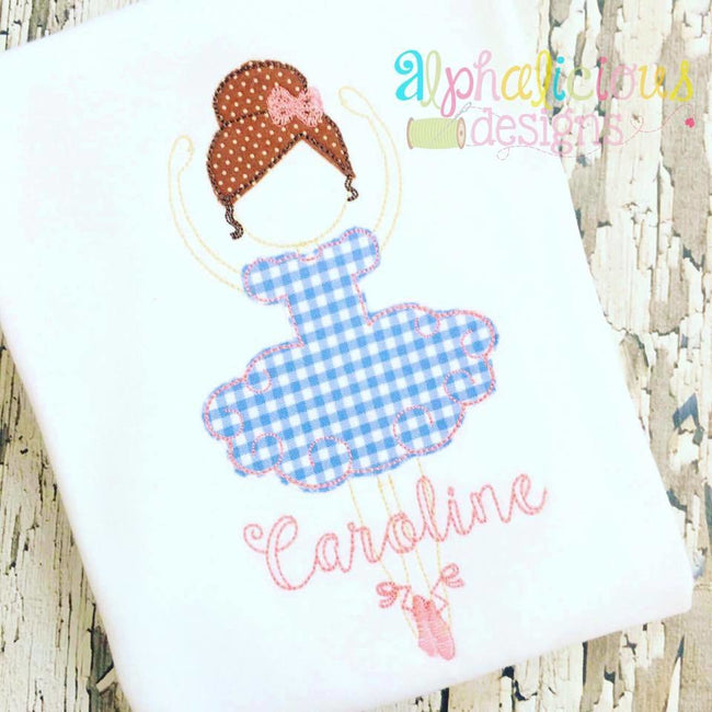 Simply Sweet Ballerina Triple Bean Applique Design - Alphalicious Designs