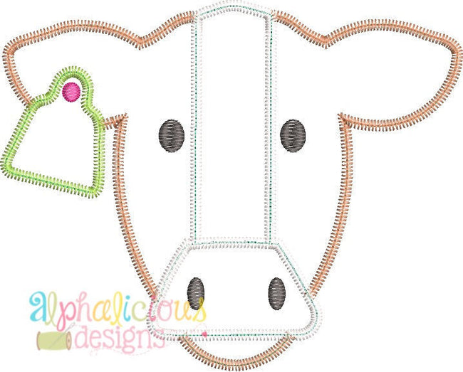 Farm Cow Applique Design - Zig Zag - Alphalicious Designs