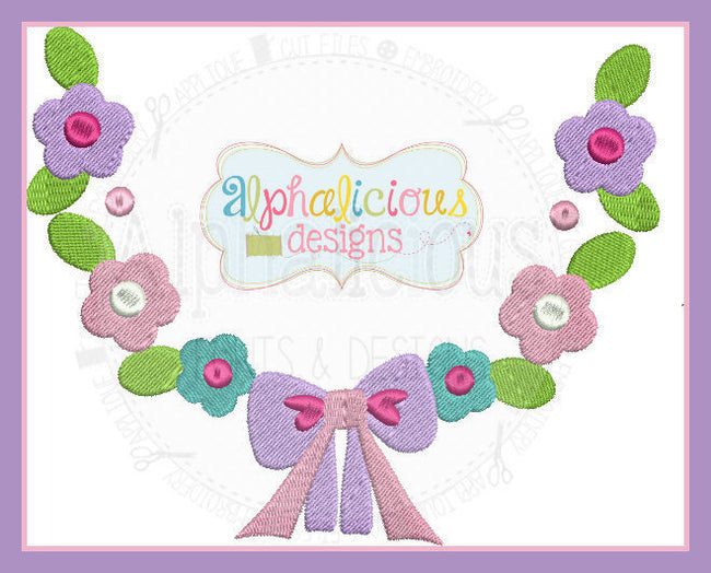 Spring Floral Monogram Wreath with Bow - Alphalicious Designs