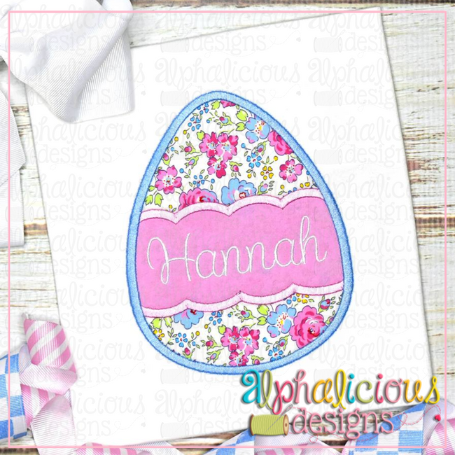 Egg with Scallop Banner-Satin - Alphalicious Designs