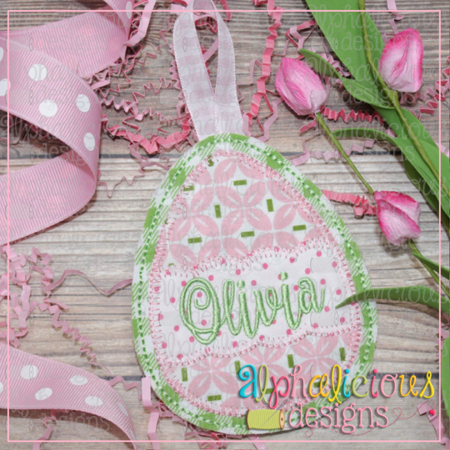 Egg with Scallop Banner Ornament - Alphalicious Designs