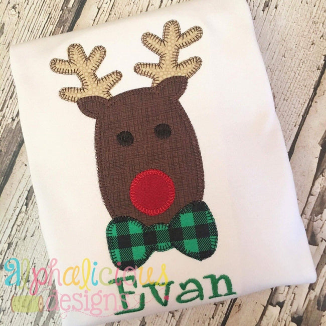 Mr. Red Nosed Reindeer- Blanket Applique - Alphalicious Designs