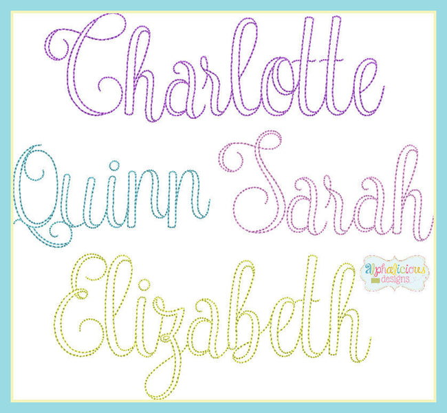 Vintage Olivia Embroidery Font - Alphalicious Designs