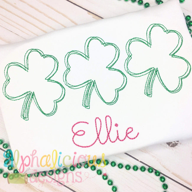 Shamrock Three In A Row-Vintage Scribble Embroidery - Alphalicious Designs