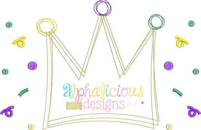 Mardi Gras Crown Vintage Scribble Design - Alphalicious Designs