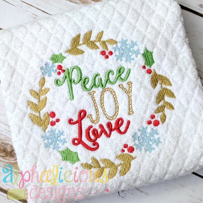 Peace Love Joy Holiday Wreath