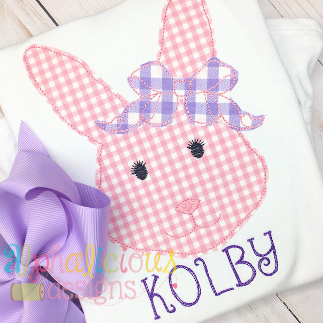 Mrs.Bunny with Bow Applique -Triple Bean