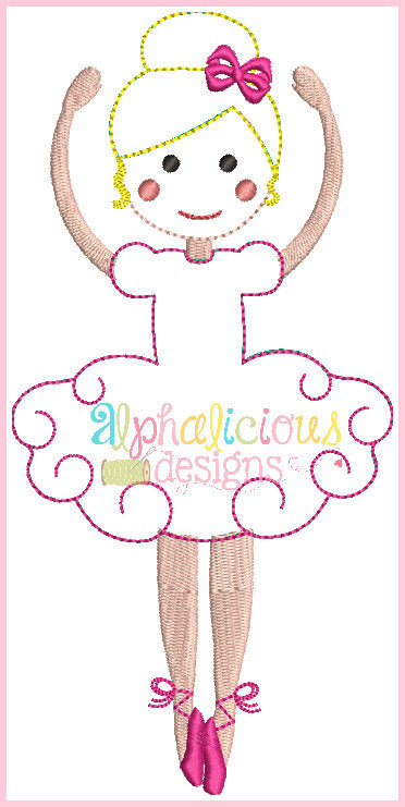 Simply Sweet Ballerina-Triple Bean and Fill-Applique Design - Alphalicious Designs