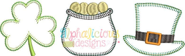 Luck of the Irish Three In A Row Applique - Blanket - Alphalicious Designs